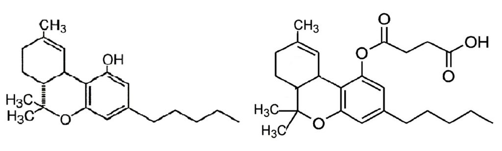 Figure 2: Δ-9-THC (left) and Δ-9-THC-HS (right) structure comparison