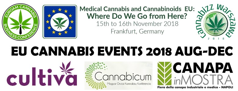European Cannabis Events 2018 August-December